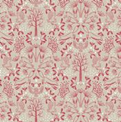 Lewis & Irene - Winter in Bluebell Wood - 6691 -  Animals, Red on Beige - C44.1 - Cotton Fabric